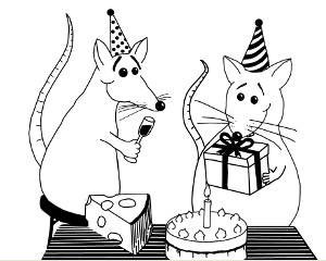 Zwei feiernde Mäuse mit Kuchen und Geschenk